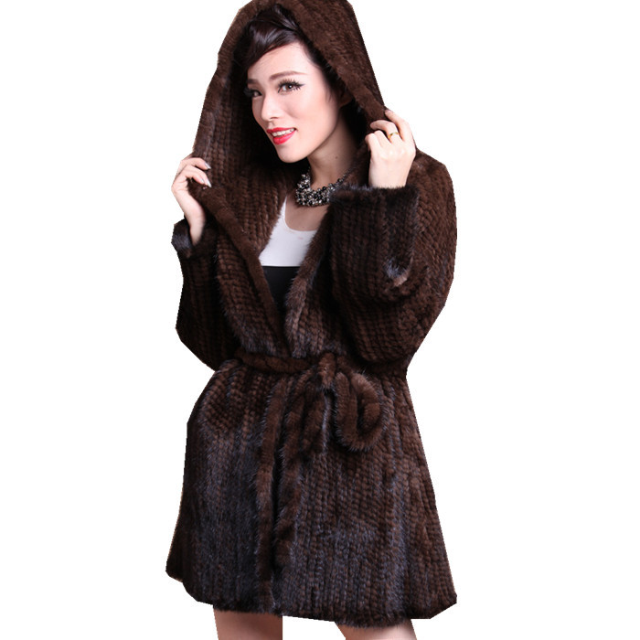 ZDFURS * Hiver tricoté manteau de fourrure à capuchon moyen-long vison vêtements véritable fourrure de vison vêtement
