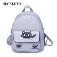 HuckLuto Brand 2019 New Limited Time Discount Korean Fashion Trend Lovely Style Student Cat Schoolbag Leather Women's Backpack