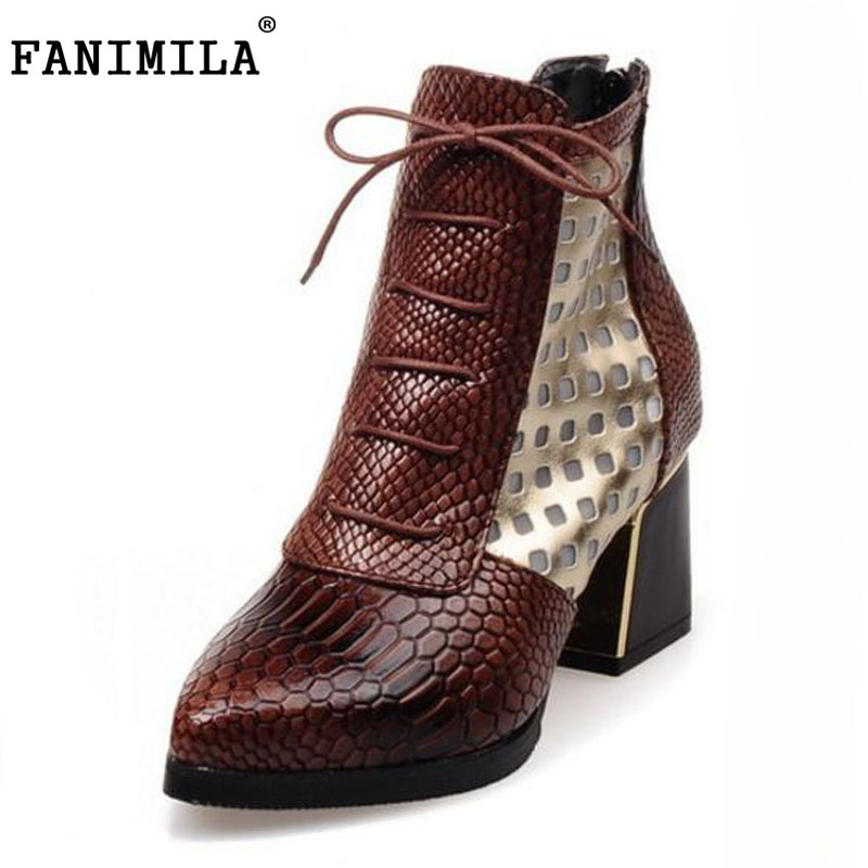 FANIMILA Fashion Pointed toe Snake Print Cross tie Women Shoes Brand Hoof High Heels  Autumn Summer Pumps Shoes Woman Size 32-43 sokotoo men s colored painted snake 3d print jeans fashion black slim stretch denim pants