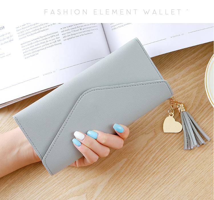 Длинный кошелек женщины кошельки мода кисточкой монета держатель карты кошелек кошельки женщины высокое качество клатч кошелек PU кожаный бумажник