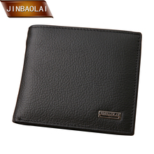 JINBAOLAI Short Men wallets With Genuine Leather Casual Soild Man Wallet Brand Male Black Coin Pocket ID Card Holder Purse