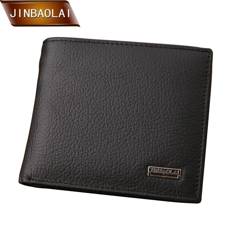 Jinbaolai homens curtos carteiras com couro genuíno casual soild homem carteira marca masculino preto moeda bolso id titular do cartão bolsa