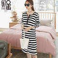Fashion Maternity Spring New Loose Large Size Striped Pregnant Women Dress To Open The Breast-feeding Dress Can Be