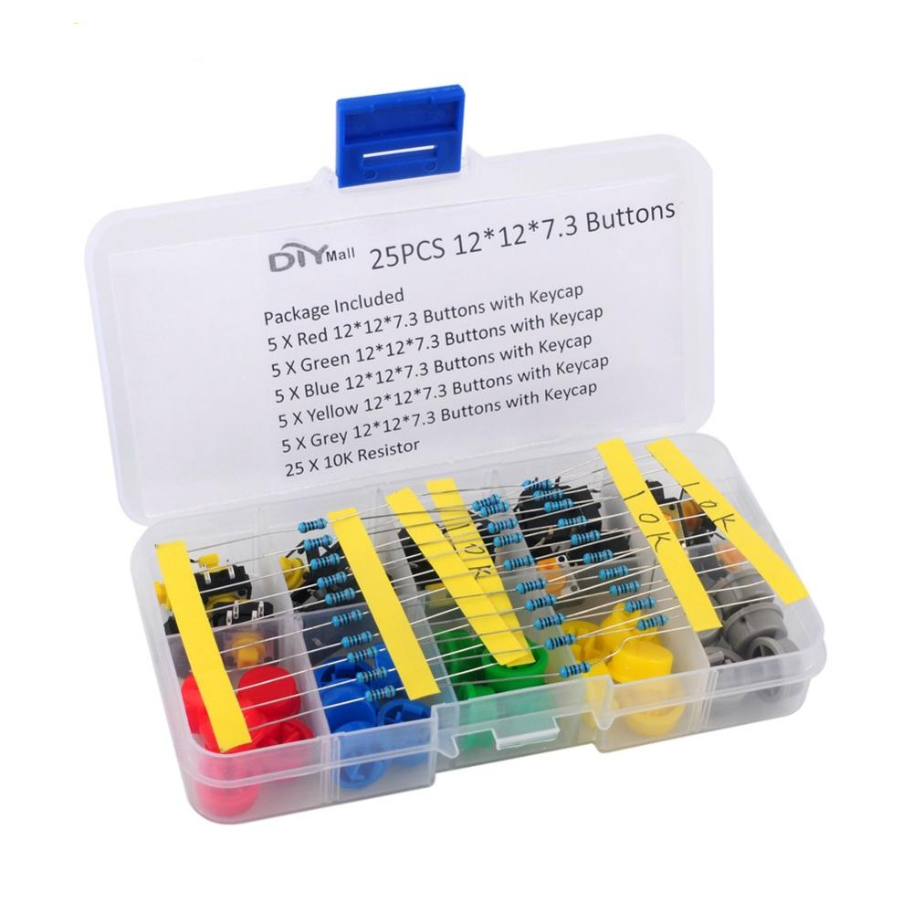 DIYmall 25pcs Tactile Push Button Tact Switch 12*12*7.3mm Assortment 5 Colors 10K Resistors Combo DIY0036