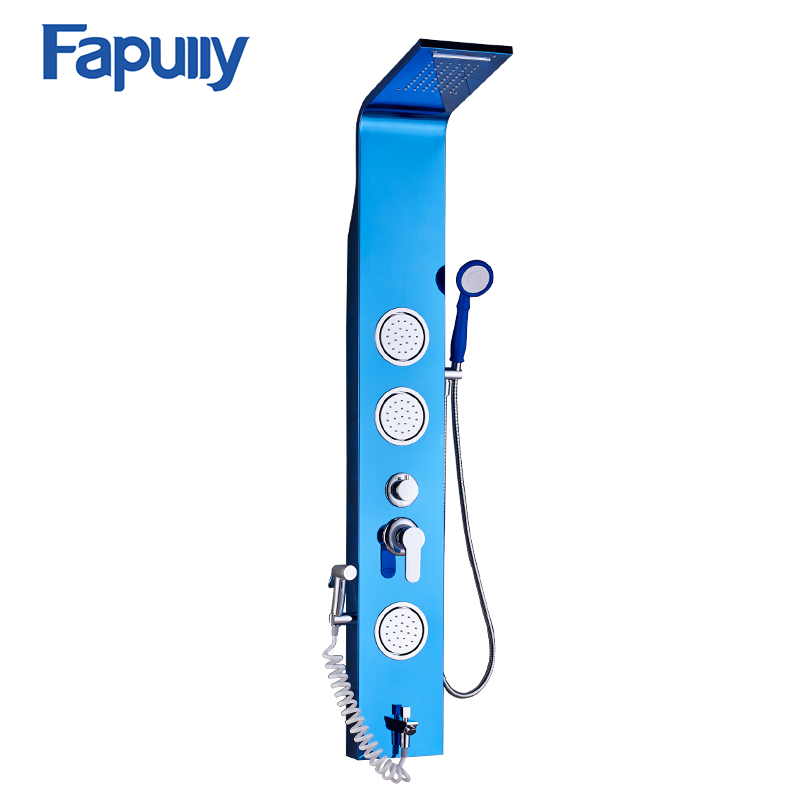 Fapully Stainless Steel Rainfall Shower Panel Body Rain Massage System Faucet with Jets Hand Shower Brushed Tap 1 2 electric solenoid valve for water air n c normally closed dc 12v new
