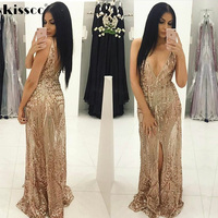 Sexy Sequined Floor Length Party Dress Backless Hollow Out Gold Sequins Maxi Dress Gown Floor Length Evening Party Dresses