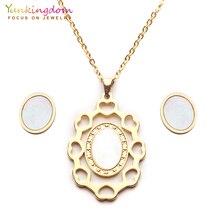 Yunkingdom модные овальные титановые комплекты ювелирных изделий из нержавеющей стали в африканском стиле для женщин ожерелье серьги-гвоздики UE0268