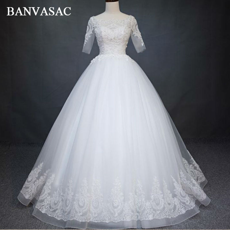 BANVASAC 2017 New Elegant Embroidery Boat Neck Wedding Dresses Beadings Full Sleeve Crystals Satin Lace Bridal Ball Gowns