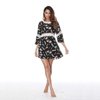 2018 Cover Up Swimwear Women Cover Ups Black Lace Beach Dress Beach Tunic Pareos Swimsuit Women