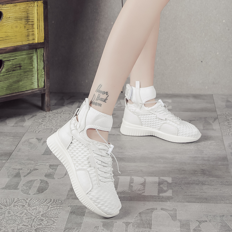 Nouvelle Lace Mode Incendies Femmes Légers Vulcaniser Top Tendance Dames Espadrilles Chaussures Beign white up High Maille Occasionnelles Plat Mujer black df8w5WOdx