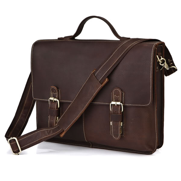 Vintage Dark Brown 100% Guarantee Real Genuine Leather Briefcase Men Messenger Bags Cowhide 14