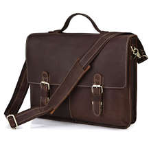 Vintage Dark Brown 100% Guarantee Real Genuine Leather Briefcase Men Messenger Bags Cowhide 14″ Laptop Portfolio #MD-J7090