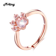 Mobuy MBRI027 животного моллюск розовый натуральный камень розовый кварц Колечки 925 розовым золотом серебряное кольцо ювелирных украшений для женщин