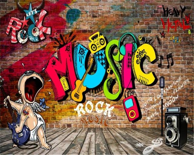 Music Graffiti Wallpapers: Beibehang Custom Wallpaper Bar KTV Decorative Backdrop