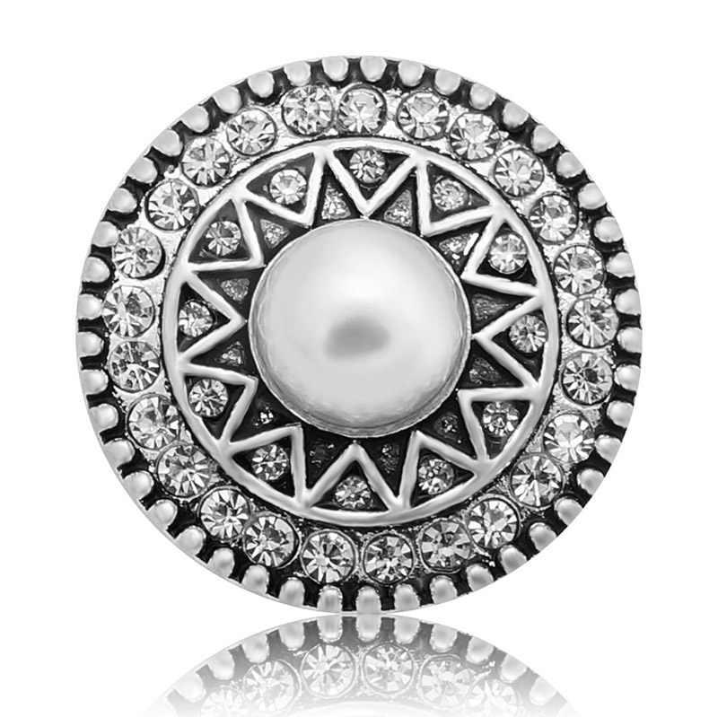 新美容クリスタルパターン真珠パターン 18 ミリメートルスナップボタンフィット diy 18 ミリメートルスナップボタンスナップジュエリー KZ3351 卸売