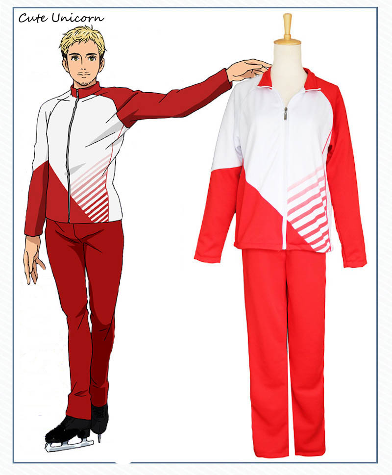New Anime Yuri on Ice Jacket Pants Skating Uniform Cosplay Costume Christophe Cosplay Clothes boys Outfits mens Track Suits
