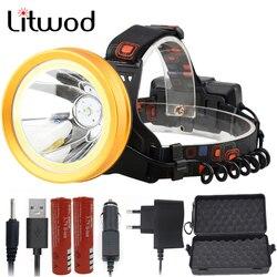 Litwod Z20136 LED Headlamp XM-L T6 COB 18650 rechargeable Batteries reflector Head flashlight Lamp torch Powerful Headlight