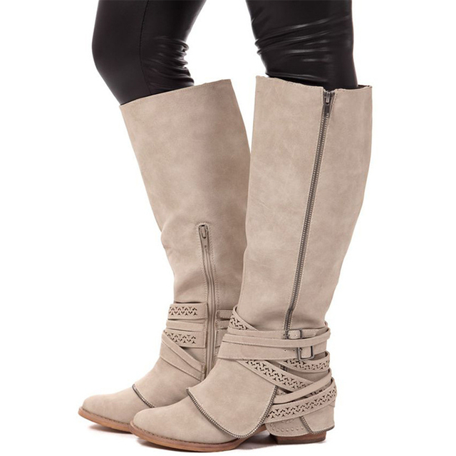 5d9908bcec6 Women Knee High Riding Boots Buckle Straps Zipper Low Heel Motocycle Boots