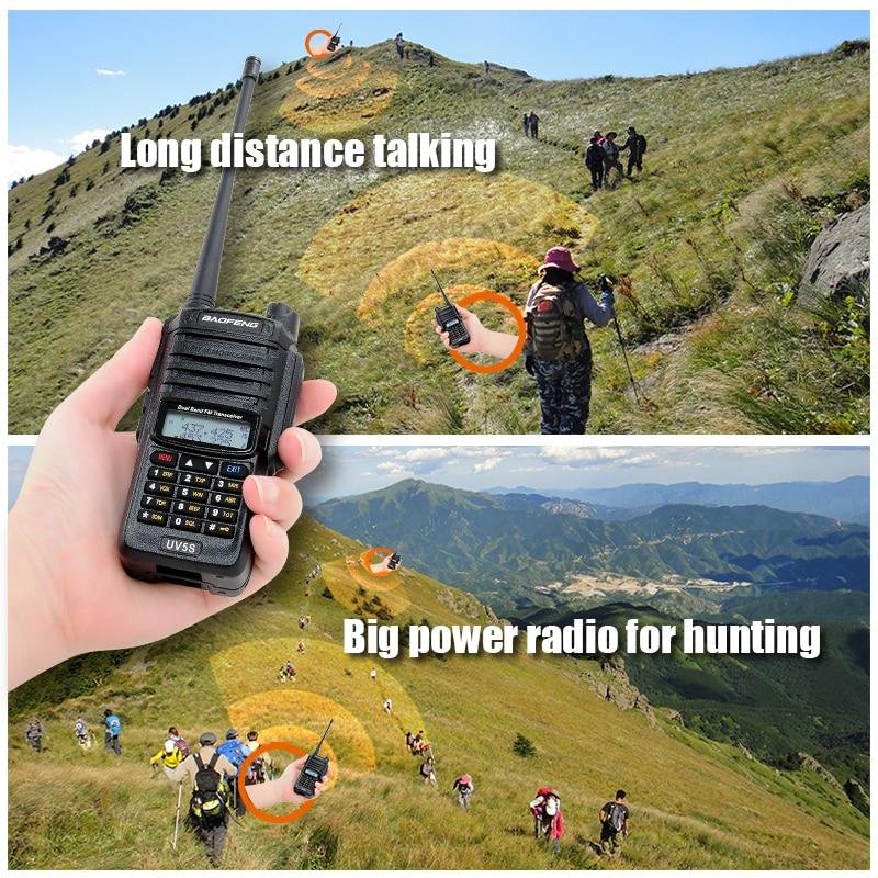 Image 2 - 8W waterproof baofeng UV5S walkie talkie 2800mAh battery 10KM Original UV XR GT 3WP UV 5S UV 5R WP Long Range Radio for hunt-in Walkie Talkie from Cellphones & Telecommunications