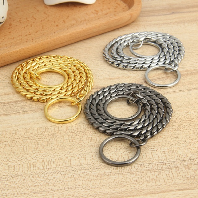 New stainless steel P chain Dog Collar copper plating pet dog Snake chain dog Collars necklace for small Medium and Large dogs