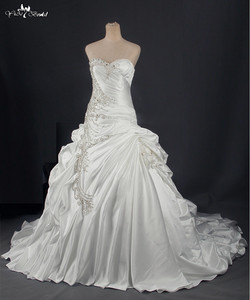 Image 2 - RSW788 Real Sample Photos Satin Ball Gown Wedding Dresses With Beaded Lace Appliques Vestidos de Noiva