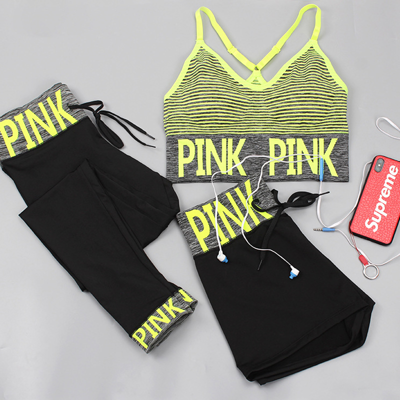 PINK Women Yoga Sets Sports Bra+Yoga Pants+Shorts Fitness Clothing Sportwear Women Yoga Suit Sports Wear For Women Gym Clothing