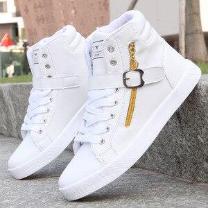 Image 3 - 2018 New White Men Boots Winter Shoes Mens Hip Hop Casual Shoes Autumn Fashion Zipper Decoration Comfortable Men High Top Shoes