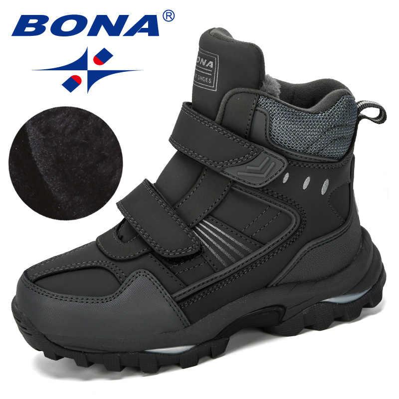 Bona 2019 New Designer Populer Anak Sepatu Bot Salju Musim Dingin Yang Hangat Boots Fashion Plush Anak-anak Sepatu Anak Laki-laki Sapi Split Sepatu Trendi