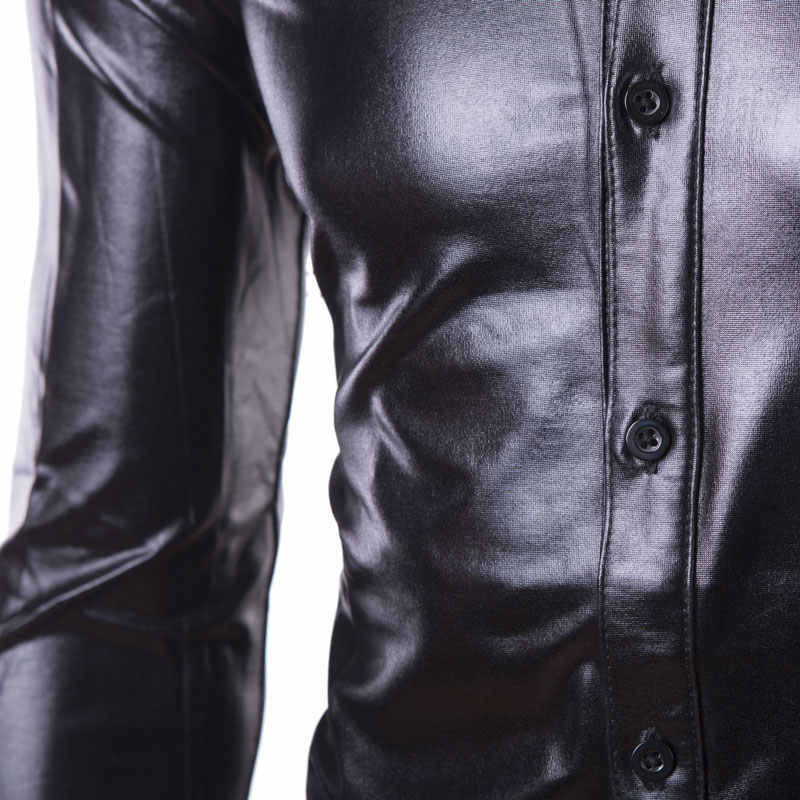 Camisas de vestir para Club nocturno para hombre Camisa Social 2018 de marca delgada Camisa de manga larga recubierta de hombre botón metálico abajo camisas negras