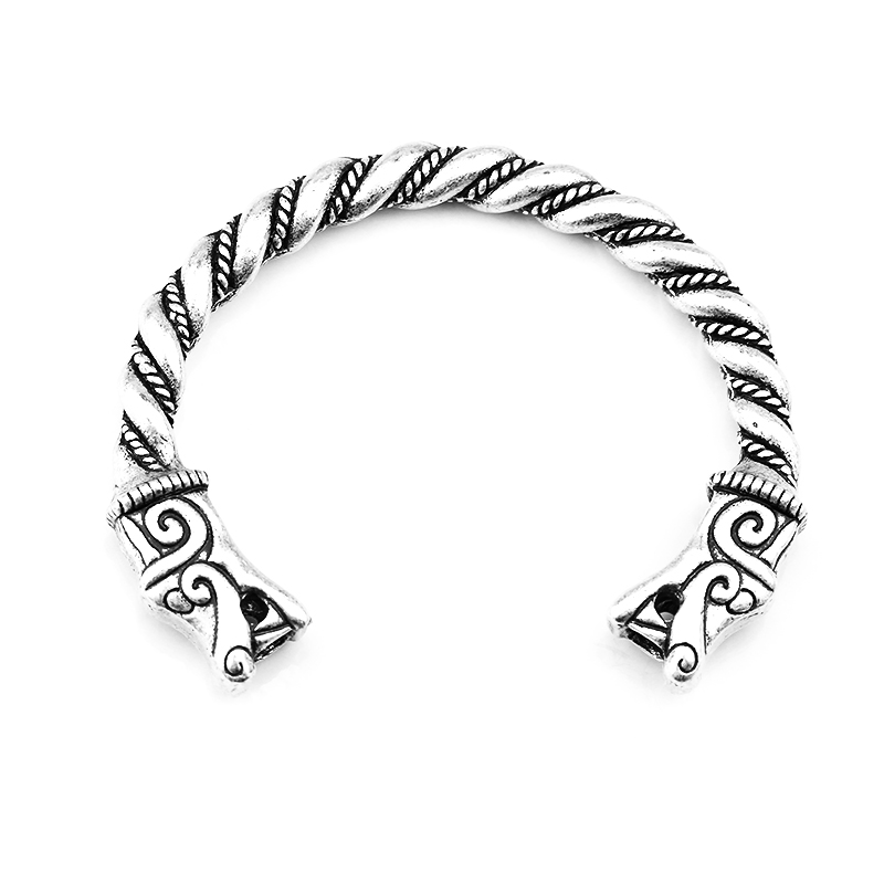 2017 New The FENRIR VIKING WOLF Tin Bracelet Pagan Norse Head Wolves Bangle Pagan Viking Dragon Bracelet ...
