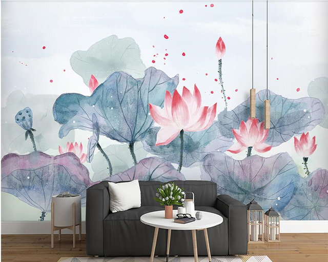 Chinese Aesthetic Ink Lotus 3d Wallpaper Papel De Parede Living Room