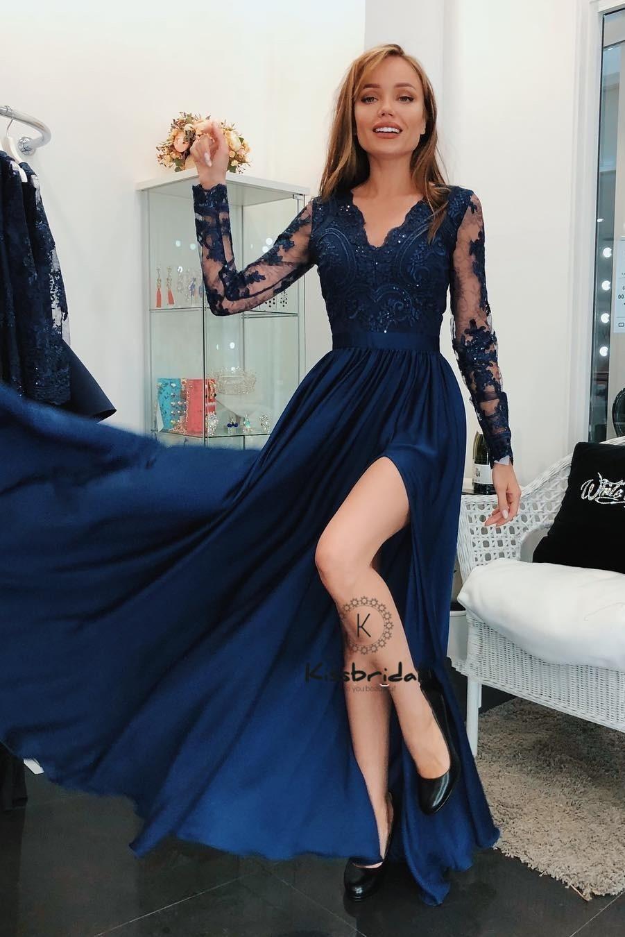 סקסי גבוהה סדק נשף Dresess 2019 Appliqued ארוך שרוול שיפון ערב שמלות לנשים זול מפלגה שמלה