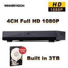 Mini 4CH H.264 Network CCTV DVR NVR Recorder P2P Cloud 4ch Full HD NVR 1080P CCTV Video Surveillance Built in 3TB HDD DHL Free