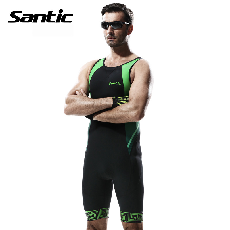 Santic Men Triathlon Cycling Jersey Italy Imported Quick Dry Breathable Tight Suit Cycling Mens Road MTB Bike Sleeveless Suit-in Cycling Sets from Sports & Entertainment    2