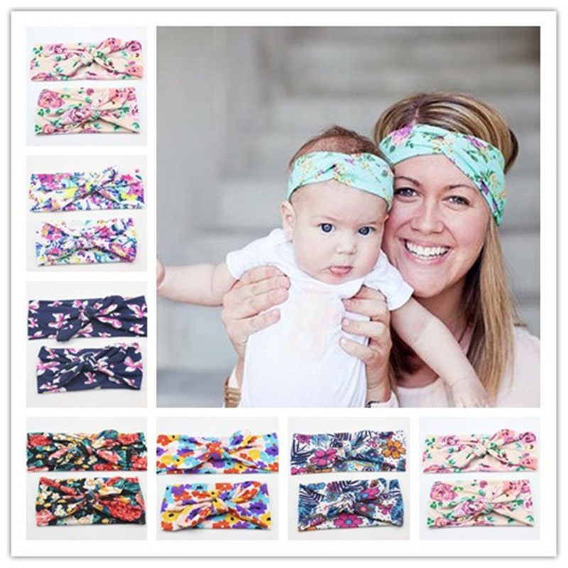 NASHAKAITE 2018 Mommy And Me Headband Elasticity Floral Printed Bownot Hairbands Hair Accessories For Women Girls Family Look