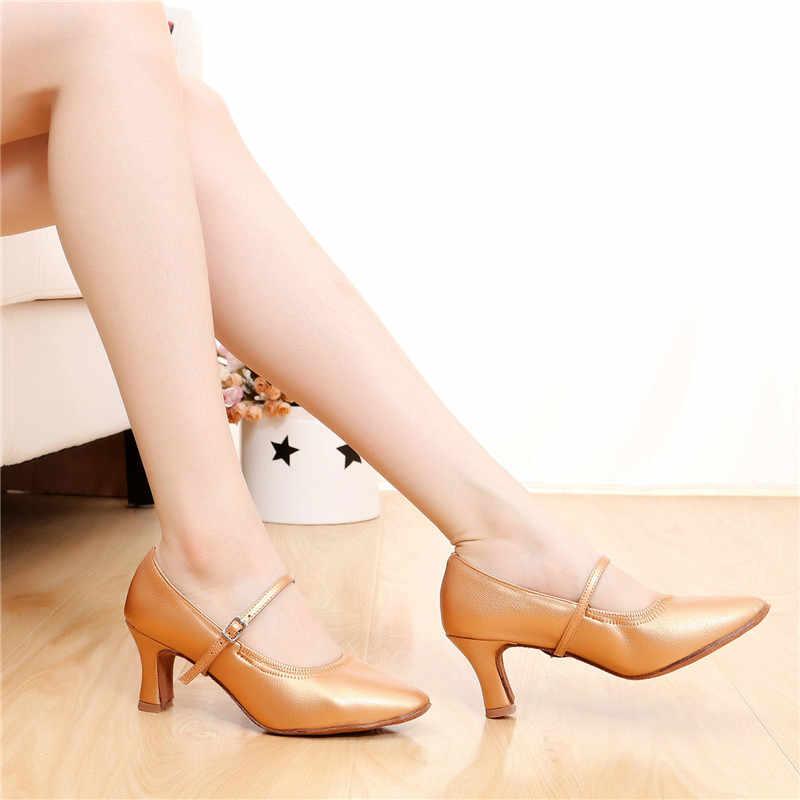 Güneş LISA High-end domuz derisi kadın bayan dans ayakkabıları yüksek topuklu balo salonu Modern Latin dans ayakkabıları