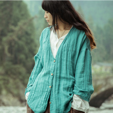 The fall of 2016 original design one hundred percent cotton linen lady's loose big yards long sleeve shirts