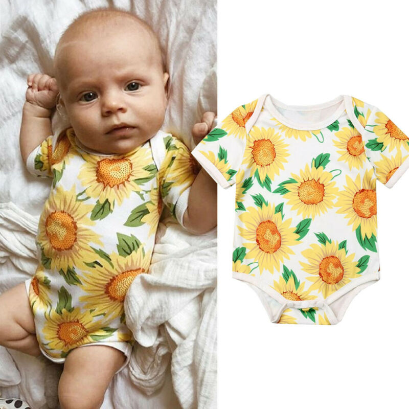 AU Newborn Infant Baby Girl Clothes Short Sleeve Romper Sunflower Cotton Outfit Sunsuit Clothes(China)
