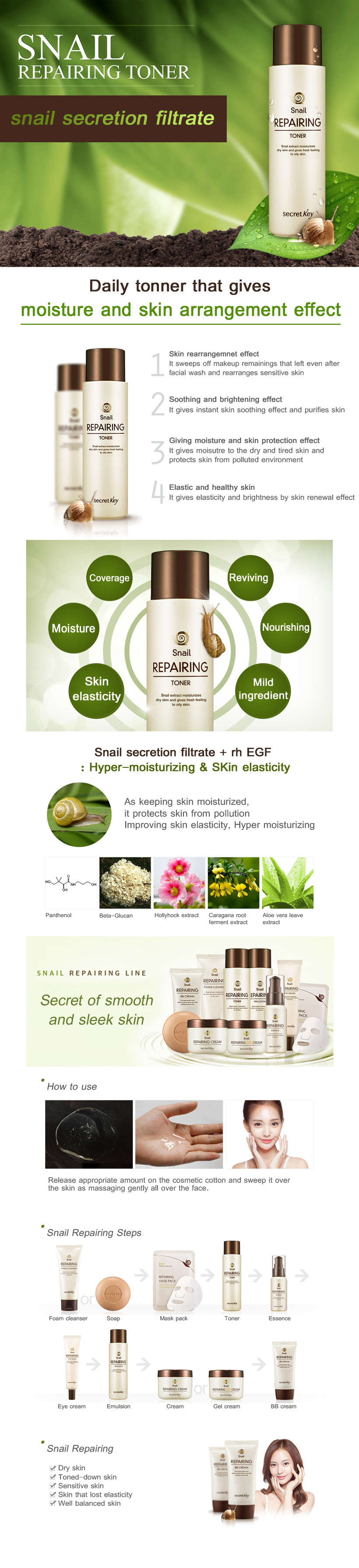 Secret Key Snail Repairing Toner 150ml Face Makeup Water Aloe Fresh 248ml Wet A Cotton Pad And Wipe Smoothly
