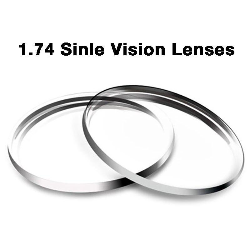 Nouveau 1.74 lentilles à Vision unique pour hommes et femmes lentille à Vision unique optique claire HMC, EMI asphérique Anti UV