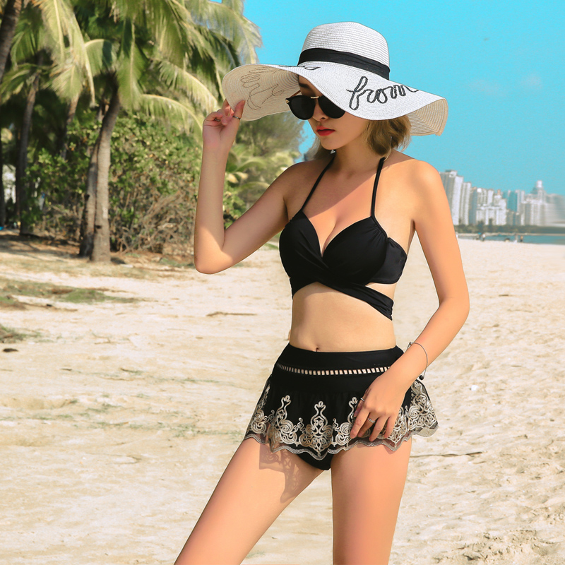 Summer Women'S Swimwear Three-Piece Solid Lace Decor Halter-Neck Straped High-Waist Cover Up Dress Lace-Up Bikinis Set Push Up 1