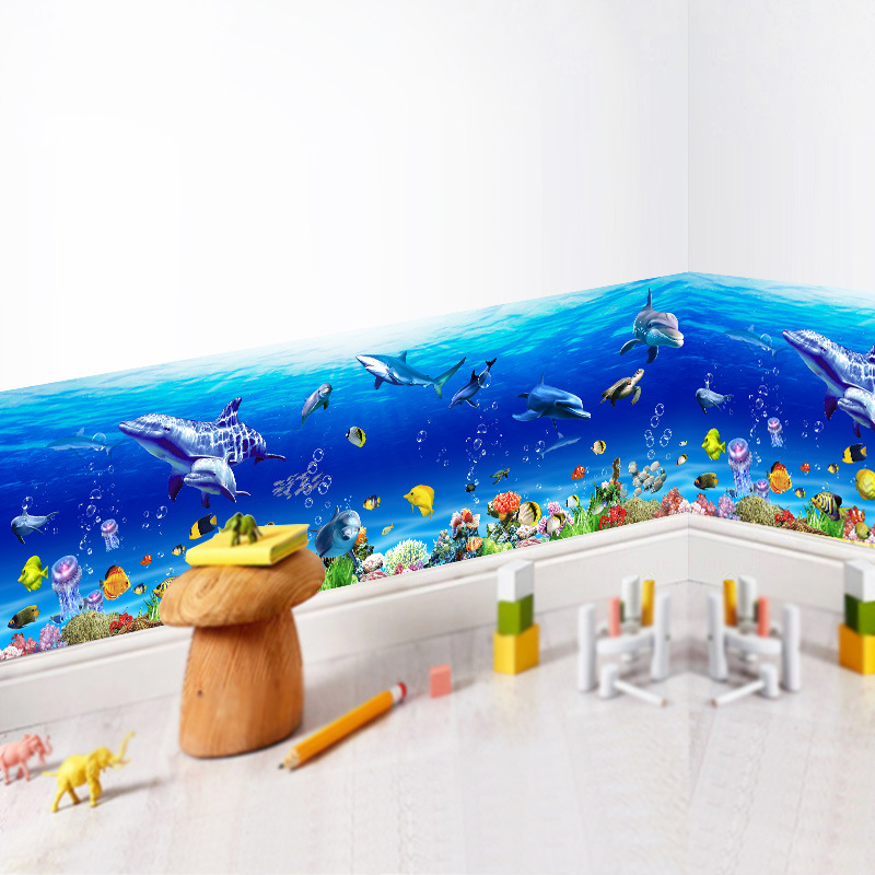 Removable Wall Stickers Underwater World Sea Fish Skirting Line Sticker for Baby Kids Nursery Bathroom Home Decor PVC Decals