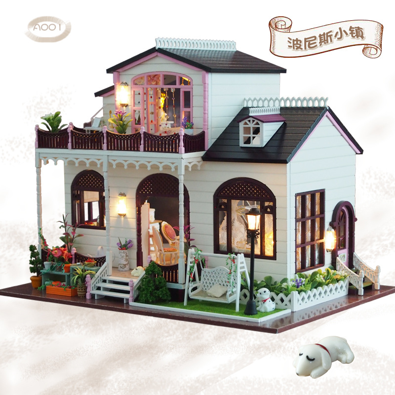 Toys & Hobbies Hard-Working A001 Miniature Villa Model Kit Diy Doll House Wooden Large Doll Houses With Furniture Toys For Children Gift Making Things Convenient For The People