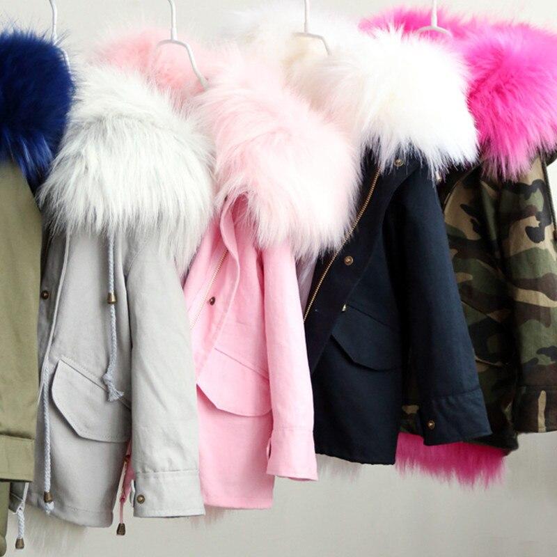 Куртка для девочек зимняя теплая лисий мех съемный вкладыш детские куртки с капюшоном модные детские парки верхняя одежда