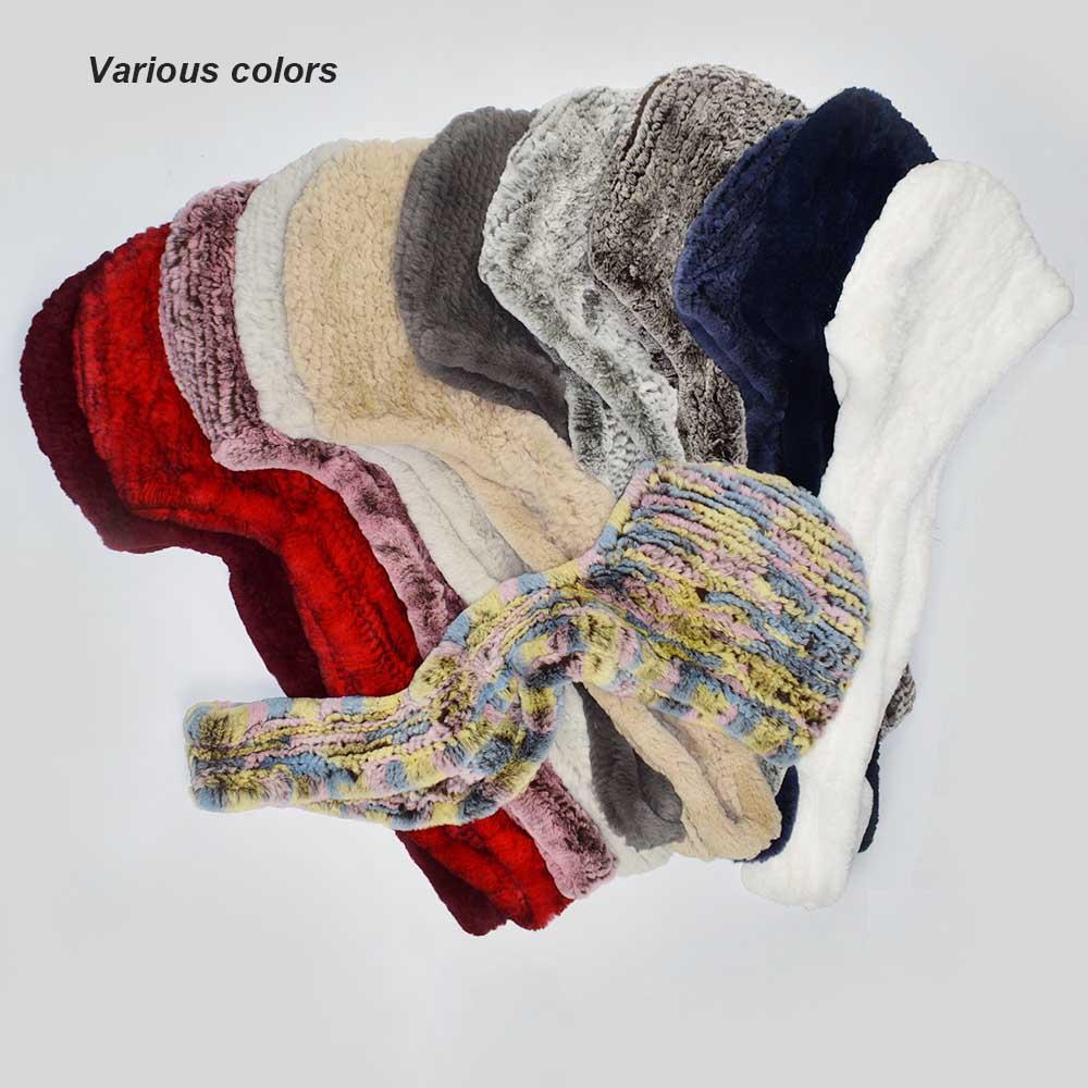 knit rex fur scarf various colors