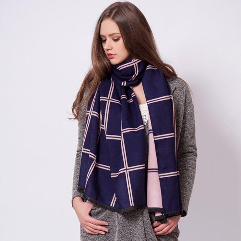 Autumn Winter Plaid Fashion Long Women Scarves Brand Double Colors Scarves Shawls
