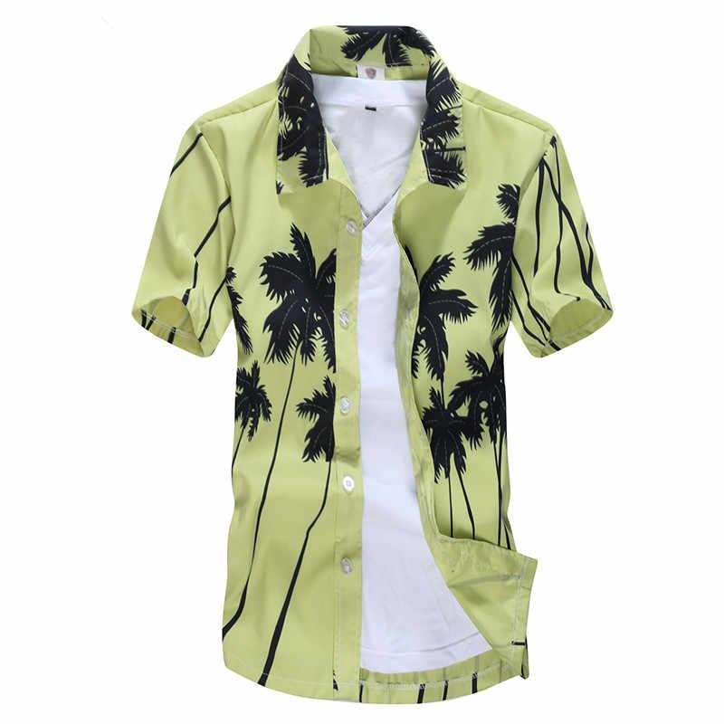 2020 yaz erkek plaj gömlek sörf t-shirt ağaçları Hawaiian gömlek erkek büyük boy kısa kollu Chemise erkek yüzmek giyim