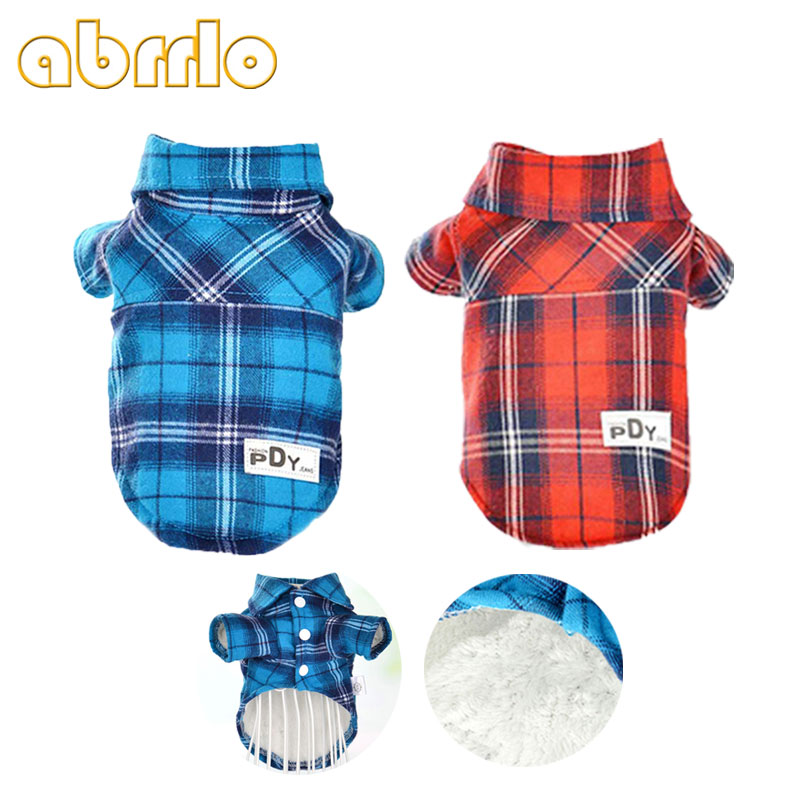 Abrrlo Winter Warm Pet Dog Clothes Red Plaid Jacket Coat Clothing Shirt Vest For Chihuahua Small Medium Dogs Puppy Apparel