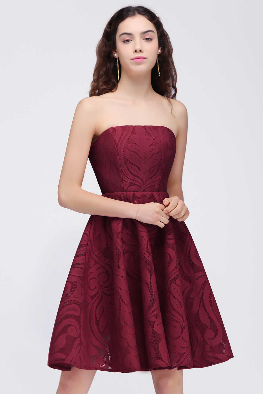 ab8cb0c7185b8 ... Sexy Vestido 15 ano curto Burgundy Lace Homecoming Dresses 2019 Floral  Print 8th Grade Graduation Dress ...