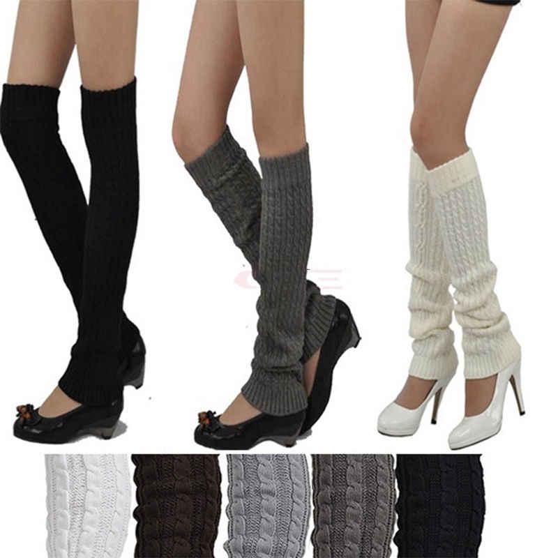 Wysokiej jakości ładny jednolity kolor zima dzianiny szydełka getry legginsy dla kobiety